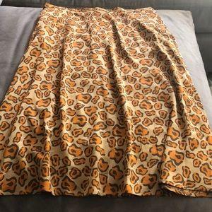Tucker Animal Print Silk Skirt Large